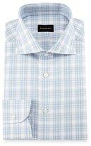 Ermenegildo Zegna Textured Plaid Dress Shirt, White/Blue