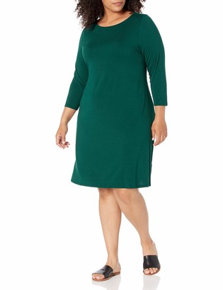 Amazon Essentials Women's Plus Size 3/4 Sleeve Boatneck Dress