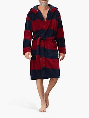 Joules Cosy Time Fleece Stripe Dressing Gown, Red/Black