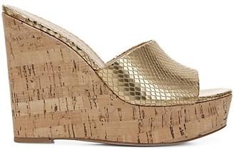 Veronica Beard Dali Metallic Snakeskin-Embossed Leather & Cork Platform Wedge Sandals