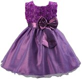 Z by Yoon Big Girls Satin Rosette Bow Adorned Flower Girl Dress