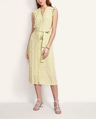 Ann Taylor Petite Floral Flutter Sleeve Shirtdress