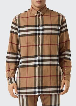 Burberry Men's Cotton Flannel Classic Check Sport Shirt