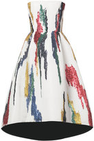 Oscar de la Renta sequinned brushstroke strapless dress