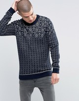 Selected Pattern Stitch Crew Neck
