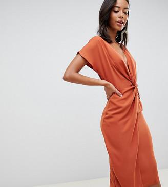 Asos Tall DESIGN Tall twist midi dress with kimono sleeve-Red