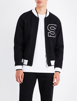 Sandro Embroidered letter wool-blend bomber jacket