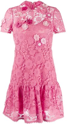 RED Valentino Floral Embroidered Macrame Mini Dress