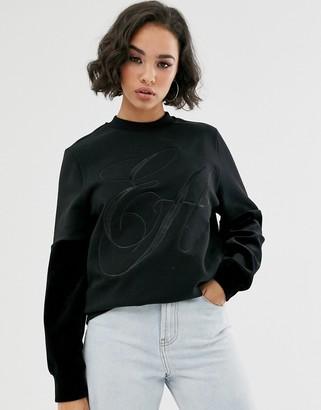Emporio Armani logo sweatshirt with velvet sleeves