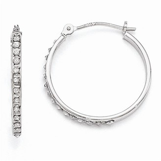 Curata 14k White Gold Diamond Accent Round Hinged Hoop Earrings - Measures 20x2mm