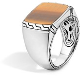 John Hardy Batu Classic Chain Sterling Silver Signet Ring with Tiger's Eye