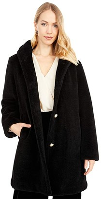 Kate Spade Faux Fur Button Front Coat (Black) Women's Coat