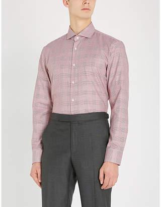 BOSS Prince of Wales print slim-fit cotton shirt