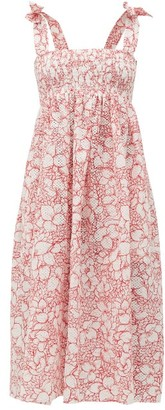 Marysia Swim Sicily Shirred Broderie-anglaise Cotton Dress - Womens - Red Print