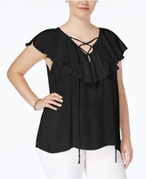 Planet Gold Trendy Plus Size Ruffled Blouse