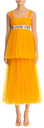 Carolina Herrera Embroidered Empire-Waist Tiered-Tulle Dress