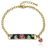"Little Miss Twin Stars ""Identity Crisis"" 14k Gold-Plated Chain Bracelet with Blue Enamel Name Plate with Multicolored Butterflies and Hanging Butterfly Charm"