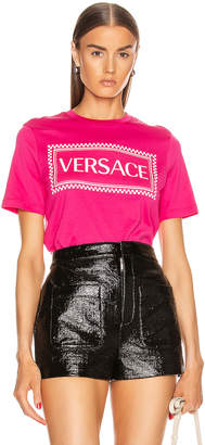 Versace Logo T Shirt in Fuchsia & White | FWRD