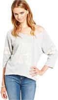 Say What Juniors Top, Three-Quarter Sleeve Lace-Trim Sweatshirt