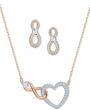 Swarovski Two-Tone Crystal Heart & Infinity Symbol Pendant Necklace and Stud Earrings Set