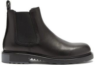 Valentino Logo-trimmed Leather Chelsea Boots - Black
