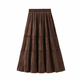 Curt Shariah Ladies Women's Velvet Midi Pleated Skirt A Line High Waist Elasticated Casual Skirt Dress