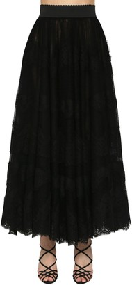 Dolce & Gabbana High Waist Flared Lace Midi Skirt