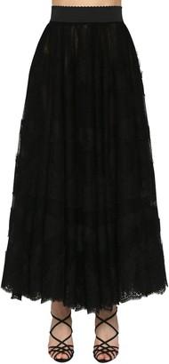 Dolce & Gabbana High Waist Flared Lace Midi Skirt