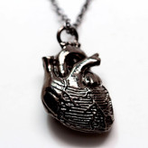 Bayer Blue Design NYC Anatomical Heart Necklace Black