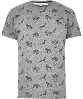 River Island MensGrey Bellfield animal print T-shirt