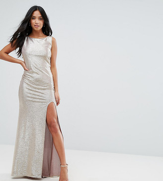 TFNC Petite Highneck Metallic Maxi Dress With Back Knot