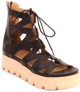 Black Lace-Up Leather Platform Gladiator Sandal