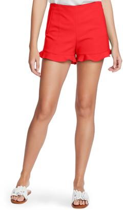 1 STATE Ruffle Hem Flat Front Shorts