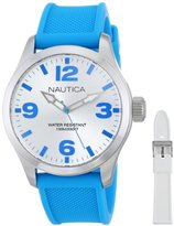 "Nautica Women's N11623M ""BFD 102"" Watch Box Set with Blue and White Interchangable Silicone Bands"