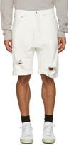 R 13 White Denim Ian Shorts