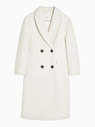 Topshop Double Breasted Longline Coat - Ivory