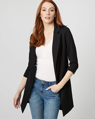Le Château Ponte Knit Notch Collar Open Front Blazer