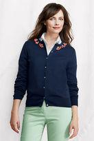 Lands' End Women's Regular Fine Gauge Supima Embellished Cardigan