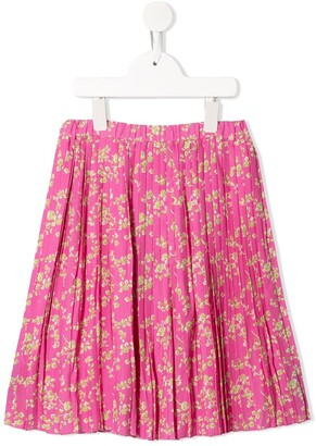 No21 Kids Floral-Print Pleated Skirt