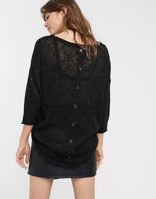 Only Lola button detail jumper-Black