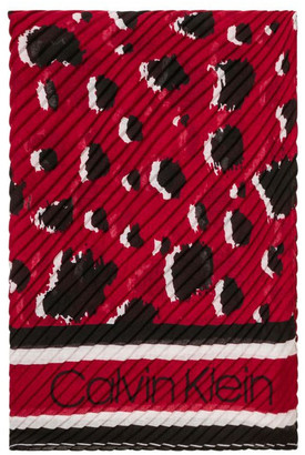 Calvin Klein Leopard Pleated Square Scarf