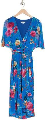 Sandra Darren Surplice Belted Floral Print Midi Dress