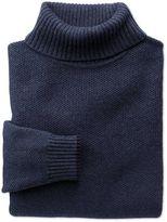 Indigo Merino Cotton Roll Neck Wool Jumper Size Medium By Charles Tyrwhitt