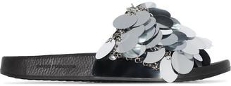 Paco Rabanne sequin strap slides