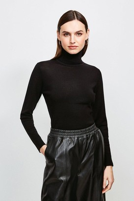 Karen Millen Merino Wool Roll Neck Jumper