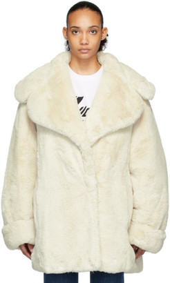 we11done Off-White Faux Fur Coat