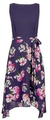 Dorothy Perkins Womens **Billie & Blossom Petite Navy Floral Print Midi Dress