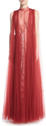 Valentino Floral Lace Gown with Tulle Overlay