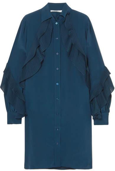 Givenchy Ruffled Silk Crepe De Chine Tunic - Blue