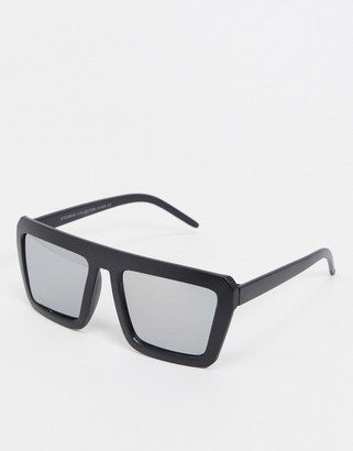 Vintage Supply oversized square Sunglasses in black